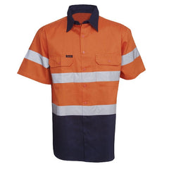 Hi Vis Cotton Twill Shirt Short Sleeve - Day/Night Use - Corporate Clothing