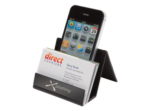 Classic Desktop Business Card Holder with Phone Stand - Promotional Products