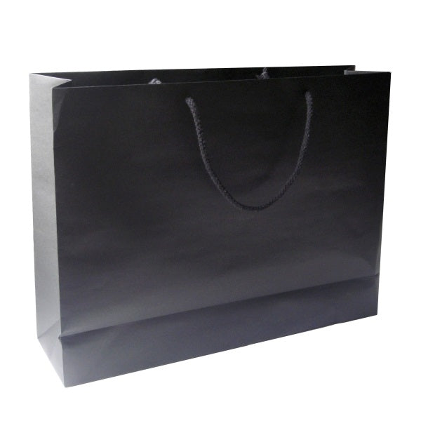 Crete Black Paper Bag With Rope Handles - Promotional Products