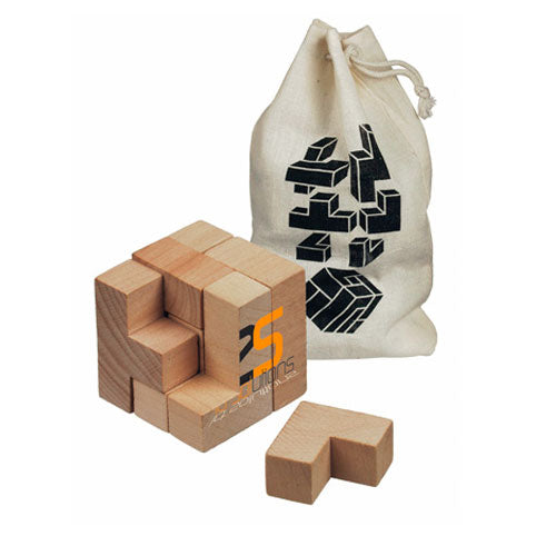 Dezine Wooden Brainteaser in bag - Promotional Products