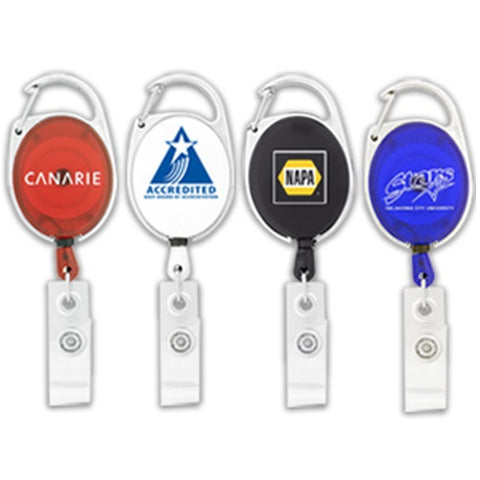 Econo Retractable Badge Holder with Carabineer Clip - Promotional Products
