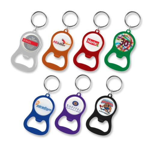 Eden Bottle Opener Keyring with Printed Dome - Promotional Products