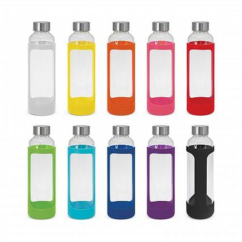Eden 600ml Glass Drink Bottle With Silicone Sleeve - Promotional Products