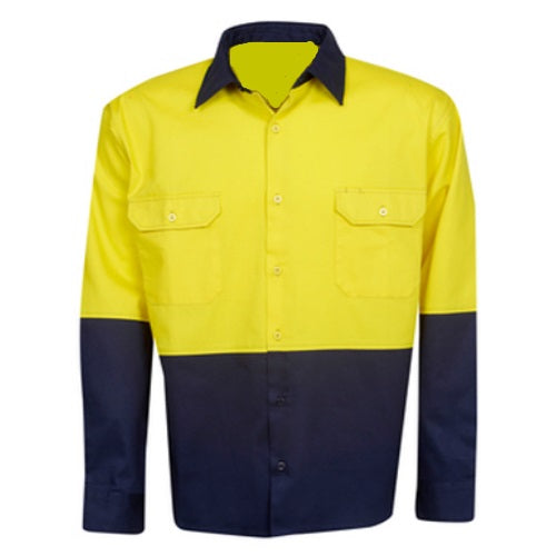 Hi Vis Cotton Drill Shirt Long Sleeve - Day Use - Corporate Clothing