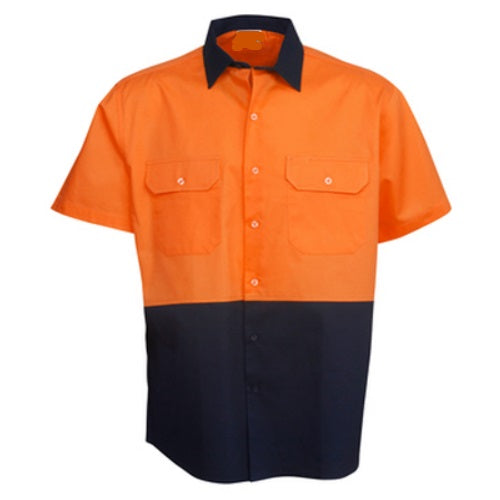 Hi Vis Cotton Drill Shirt Short Sleeve - Day Use - Corporate Clothing