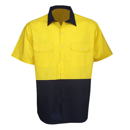 Hi Vis Cotton Twill Shirt Short Sleeve - Day Use - Corporate Clothing