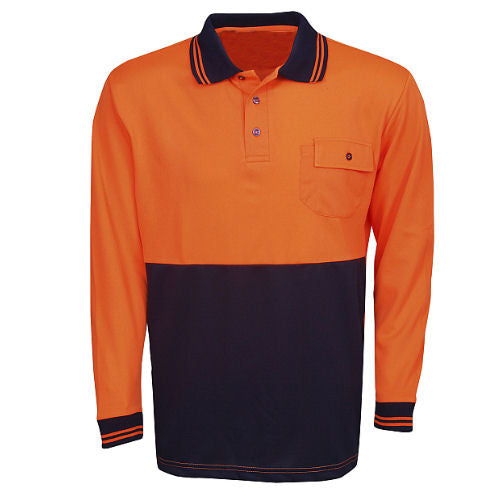 Hi Vis Polo Shirt Long Sleeve - Day Use - Corporate Clothing