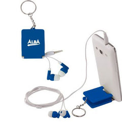 Arrow Earphones Keyring with Phone Stand - Promotional Products
