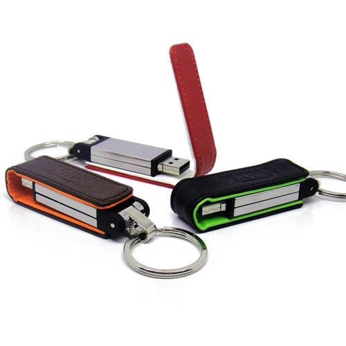 Leather Flip Keyring USB Flash Drive - Promotional Products