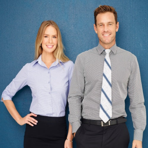 Outline Lightweight Mini Check Business Shirt - Corporate Clothing
