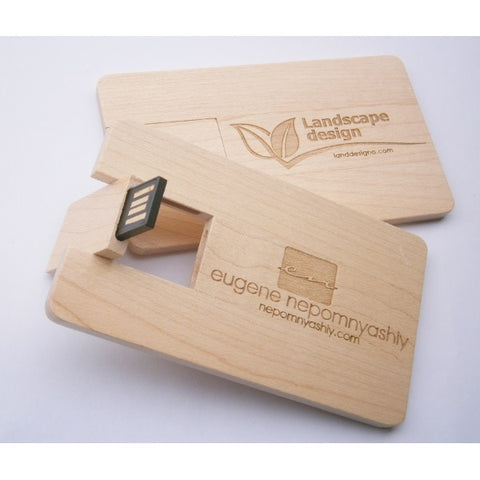 Wooden Credit Card Style USB Flash Drive - Promotional Products