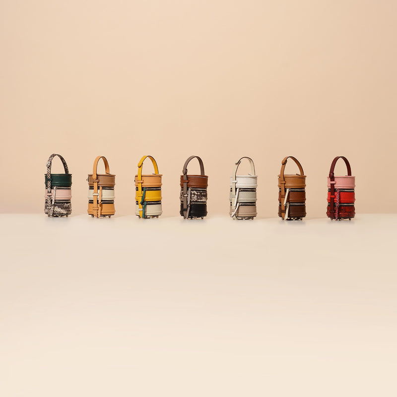 #NashaPinto Leather Bag Charm & Mini Bucket Bag in Pinto Lunch box shape with 1 leather handle and 1 leather strap. Pinto Series has 3 sizes, Original, Mini, Baby size.  NASHA MADE IN MARS / NASHABAG /  กระเป๋า ปิ่นโต