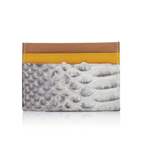 #NashaEtienneFamily Leather cardholder The cardholder is one of Etienne Family classic item. Fits 5 standard sizes card. The Cardholder is made of Calf leather and python leather combination.