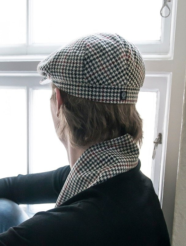 Flat cap - Fraser Sr. Dogtooth Black-Wine - CTH Ericson of Sweden