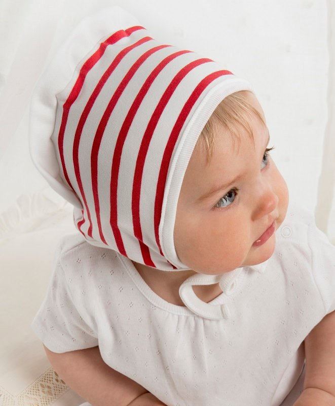 Bonnet - Anna Jr. Nautic Stripe White/Red - CTH MINI