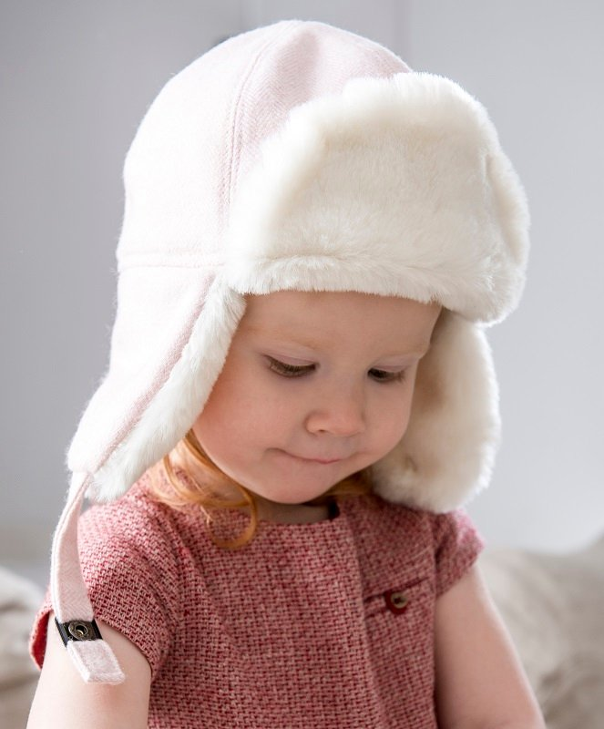 Trapper hat - Winter Alaska Jr. Herringbone Pink - CTH MINI