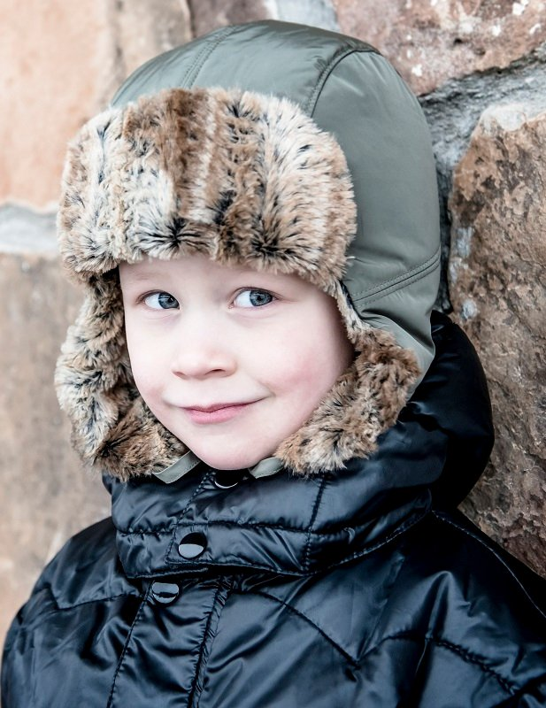 Kids winter hat - Amos Jr. Memory Olive - CTH MINI
