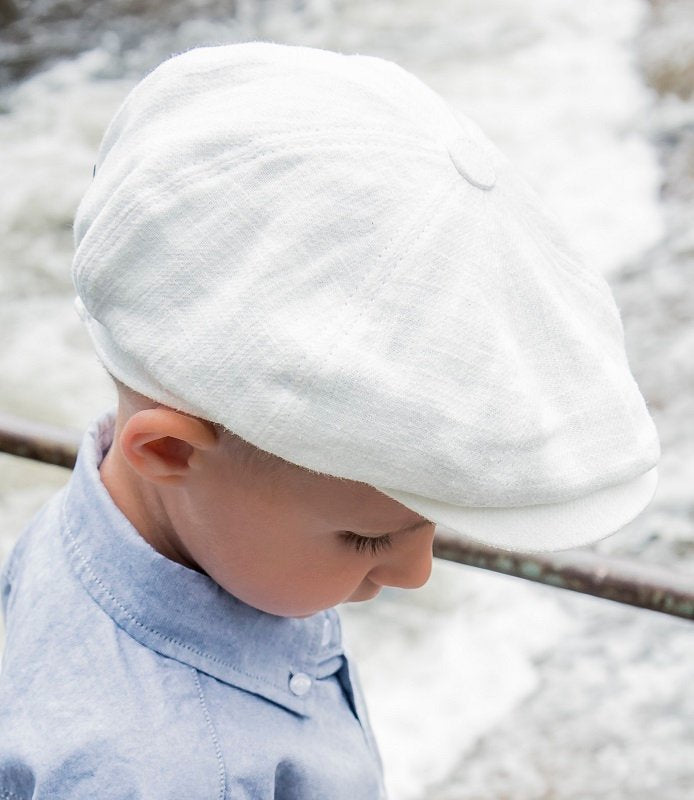 Kids Newsboy cap - Gordon Jr. Ramie Off-white - CTH MINI