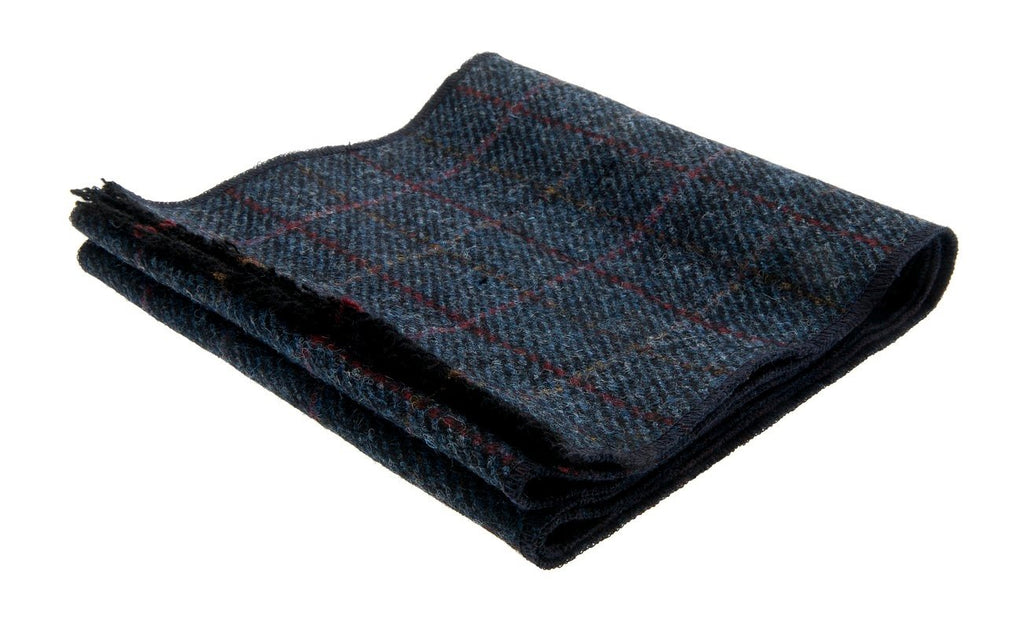Scarf - Edgar Sr. Harris Tweed Overcheck Blue - CTH Ericson