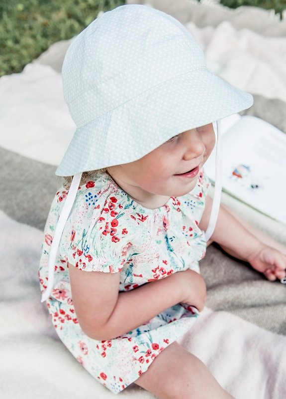 Kids Bucket hat - Carrie Jr. Polka Dot Pale Green - CTH MINI
