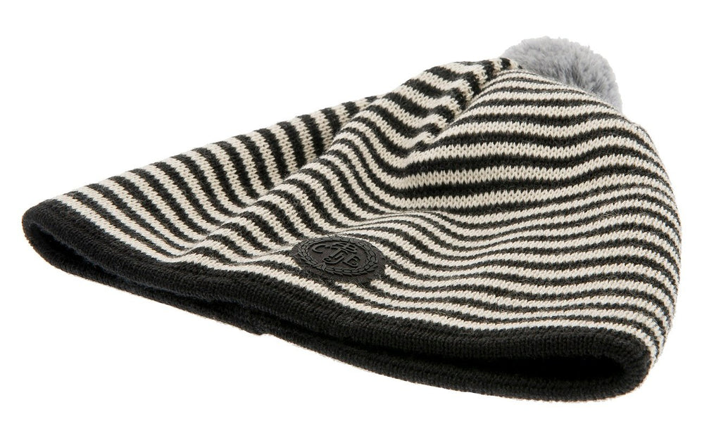 Beanie - Tove Jr. Knitted Striped Black - CTH Ericson