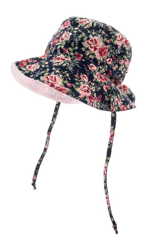 Baby Sun hat - Indra Jr. Roses Dark Blue - CTH MINI