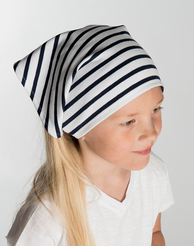 Head scarf - Sara Jr. Nautic Stripe White/Marin - CTH MINI