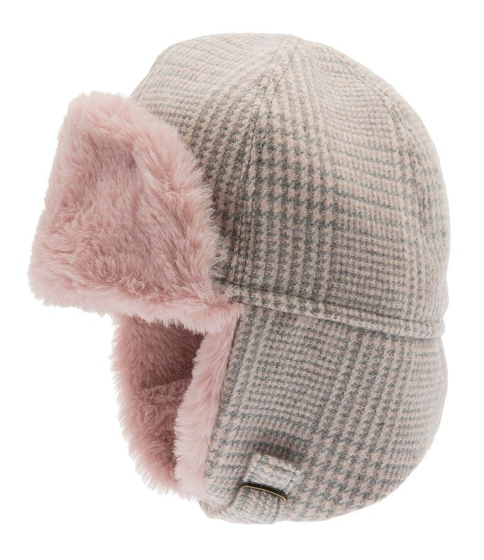 Trapper hat - Winter Alaska Jr. Glencheck Pink-Grey - CTH MINI