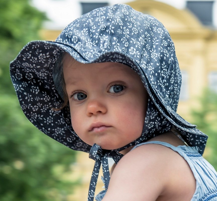 Baby Sun hat - Ines Jr. Denim Flower Blue - CTH Ericson of Sweden