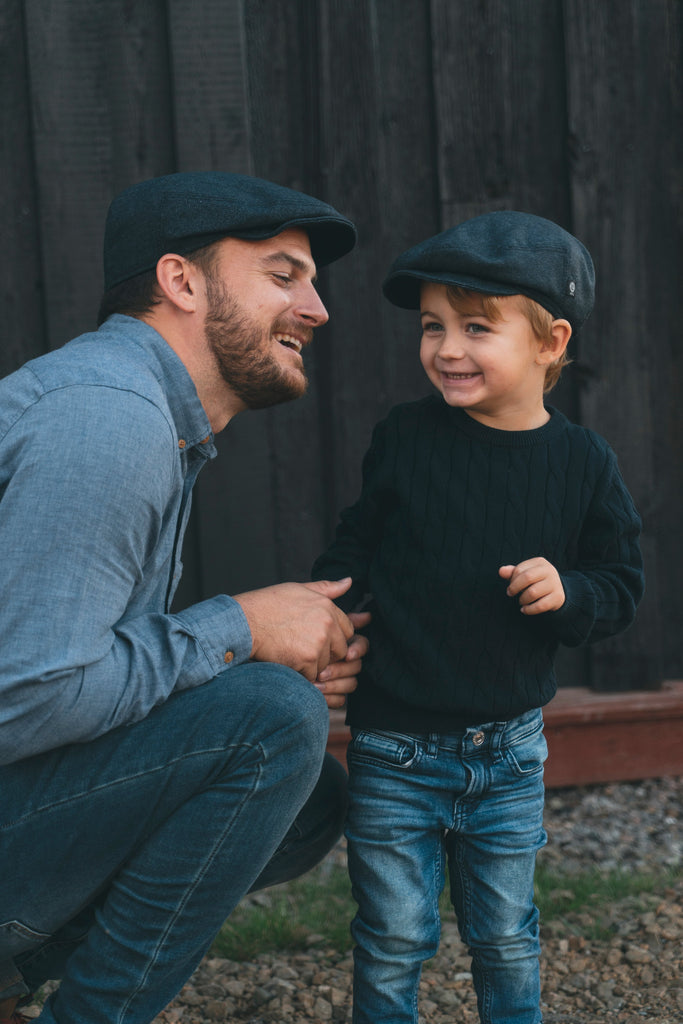 Kids Flat cap - Carl Jr. Herringbone Blue - CTH MINI