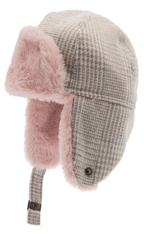 Trapper hat - Alaska Jr. Glencheck Pink-Grey - CTH MINI