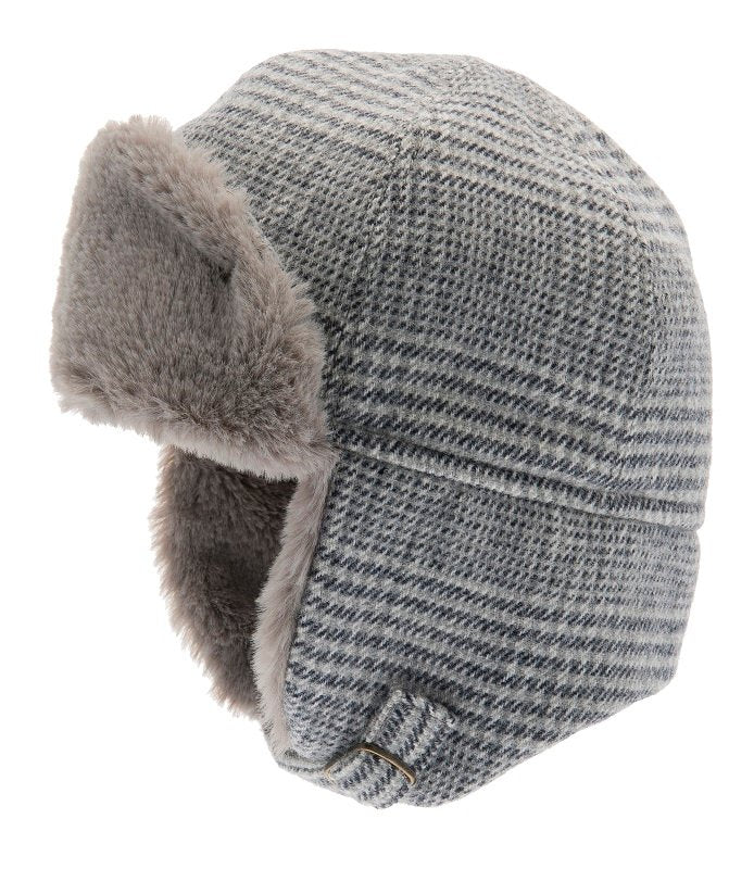 Trapper hat - Winter Alaska Jr. Glencheck Blue-Grey - CTH MINI