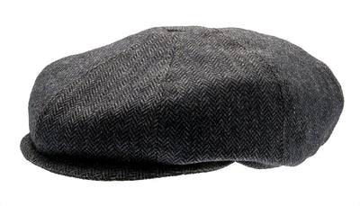 Kids Newsboy cap - Theodor Jr. Herringbone Blue - CTH MINI