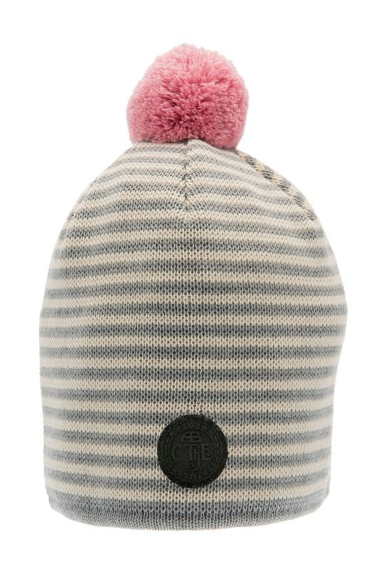 Beanie - Tove Jr. Knitted Striped Grey - CTH Ericson
