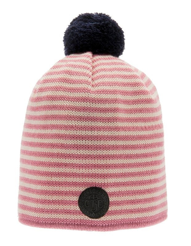 Beanie - Tove Jr. Knitted Striped Pink - CTH Ericson