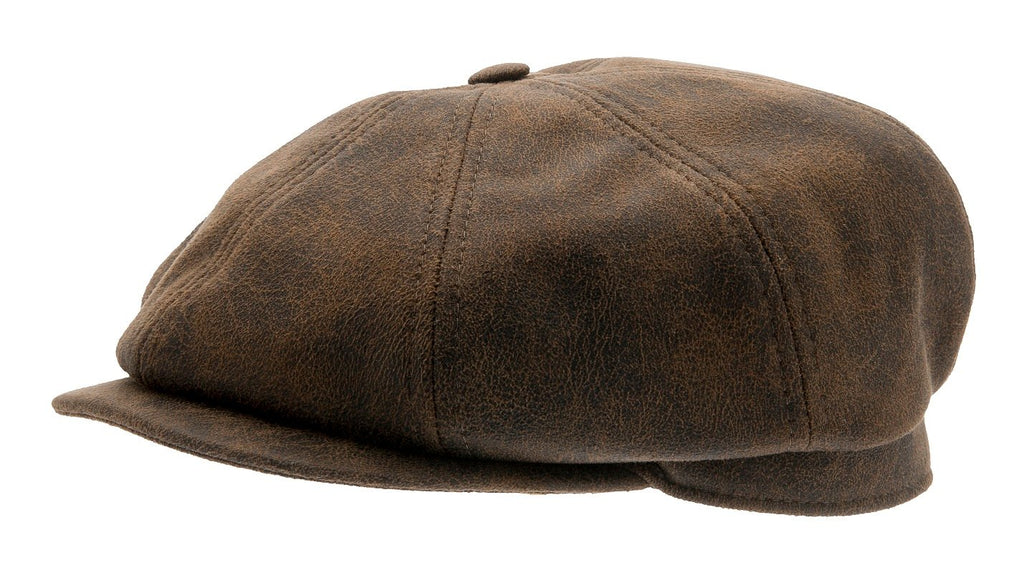 Newsboy cap - Alan Sr. Faux Leather Brown - CTH Ericson