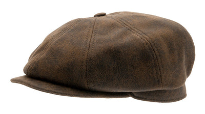 Newsboy cap - Alan Faux Leather Brown - CTH Ericson
