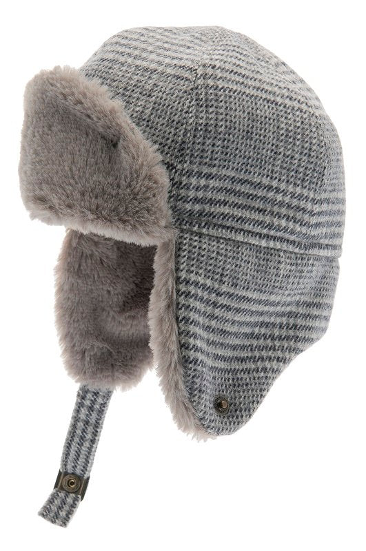 Trapper hat - Alaska Jr. Glencheck Blue-Grey - CTH MINI