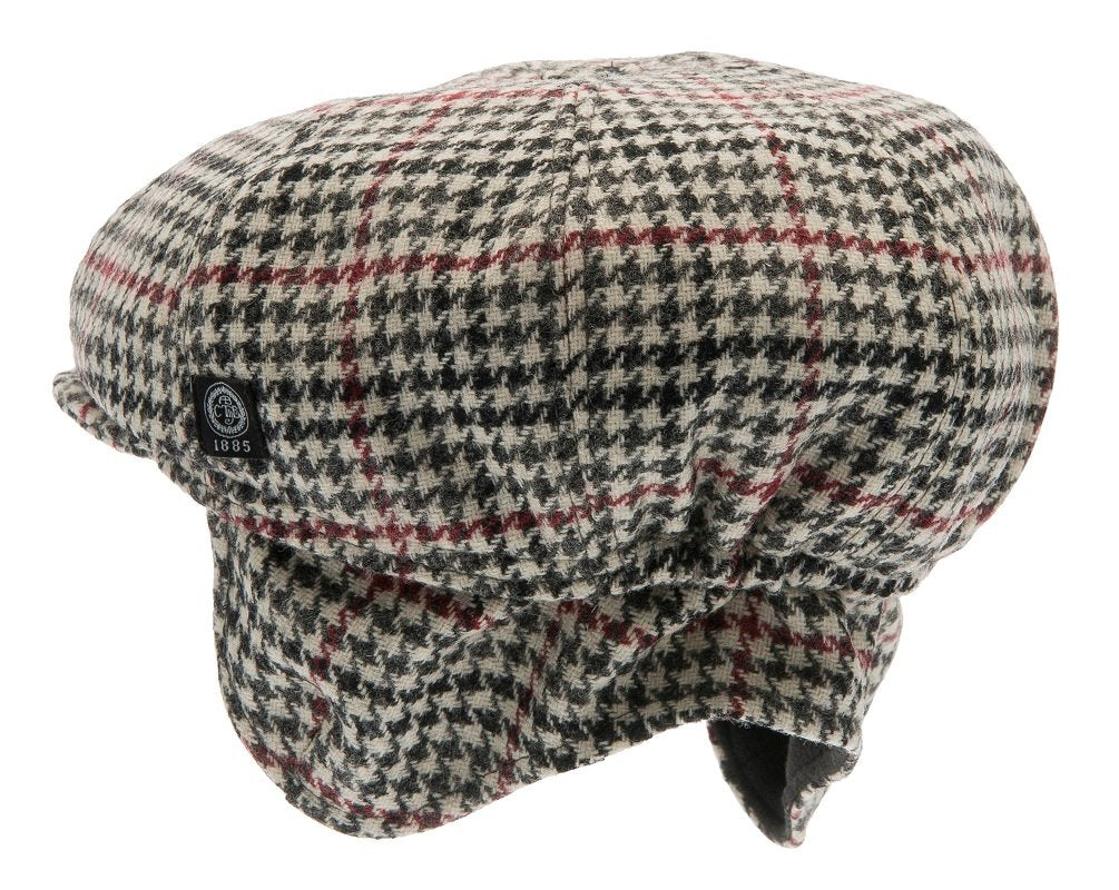 Kids Newsboy cap - Theodor Jr. Dogtooth Black-Wine - CTH MINI