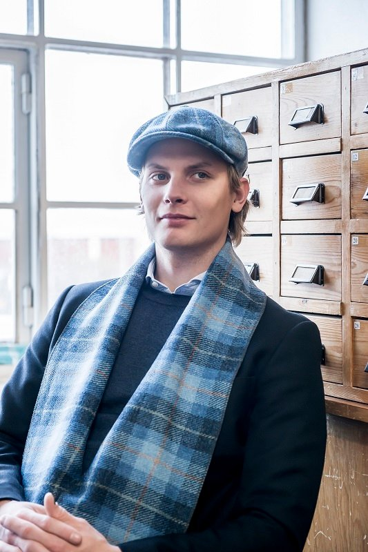 Scarf - Edgar Sr. Harris Tweed Plaid Blue - CTH Ericson of Sweden