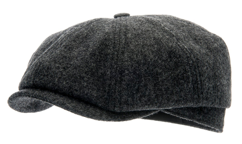 Newsboy cap - Alan Sr. Moon Shetland Graphite - CTH Ericson of Sweden