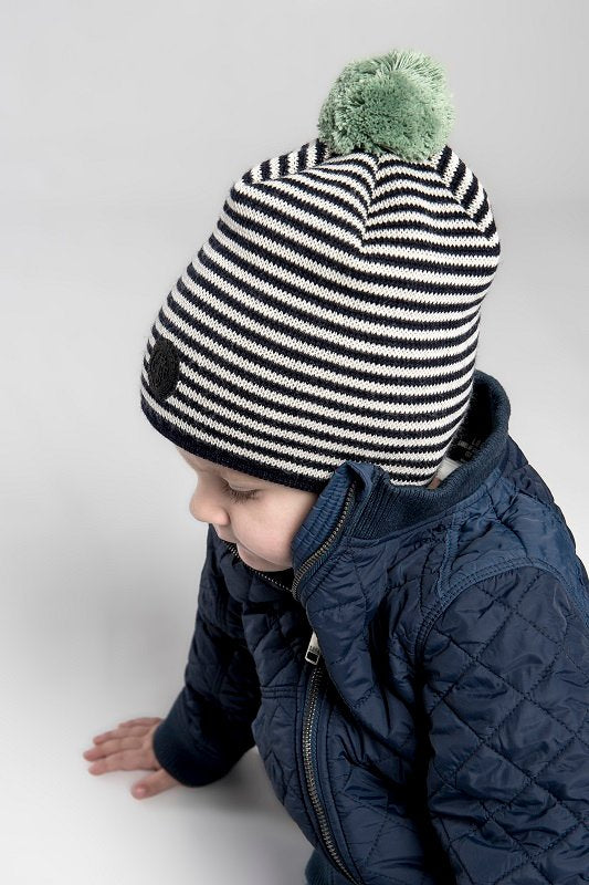 Beanie - Tove Jr. Knitted Striped Blue - CTH Ericson of Sweden
