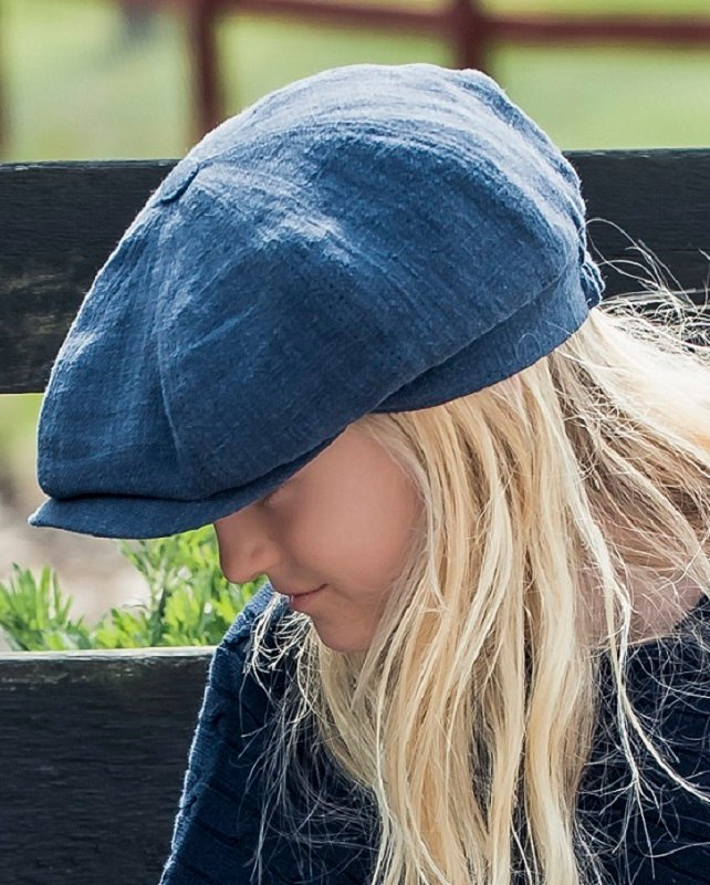 Kids Newsboy cap - Gordon Jr. Ramie Blue - CTH MINI