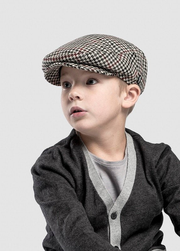Kids Flat cap - Carl Jr. Dogtooth Black-Wine - CTH MINI