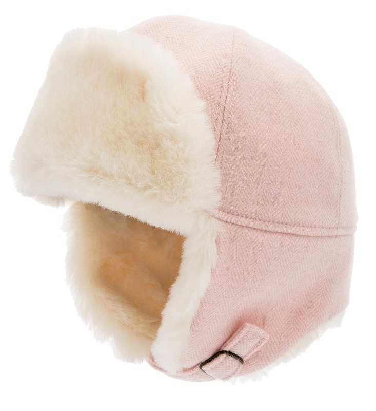 Trapper hat - Alaska Jr. Herringbone Pink - CTH MINI