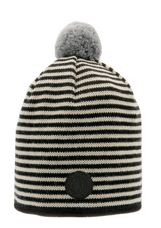 Beanie - Tove Jr. Knitted Striped Black - CTH Ericson of Sweden