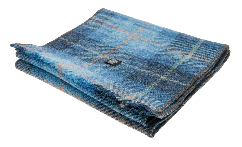 Scarf - Edgar Sr. Harris Tweed Plaid Blue - CTH Ericson