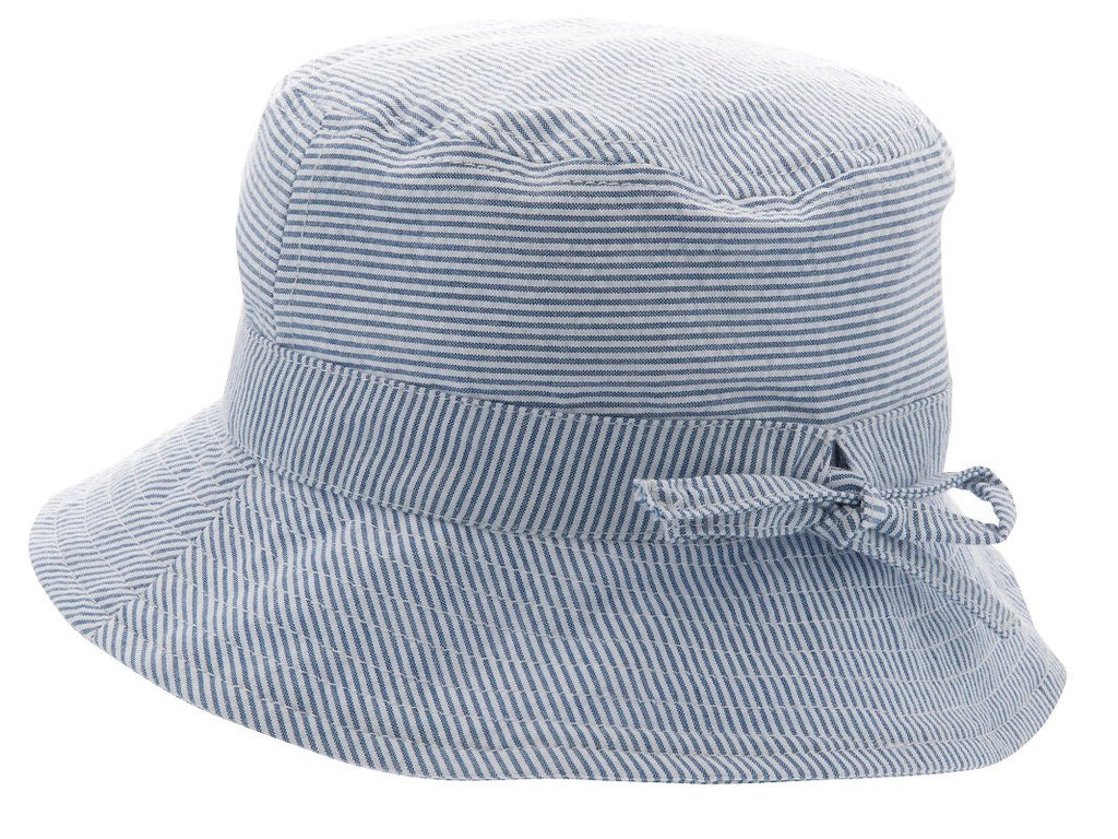Kids Sun hat - Gillis Jr. Seersucker Blue - CTH MINI
