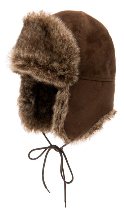 Trapper hat - Esbjörn Jr. Faux Suede Brown - CTH MINI