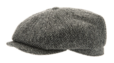 Newsboy cap - Alan Sr. Harris Tweed Black - CTH Ericson